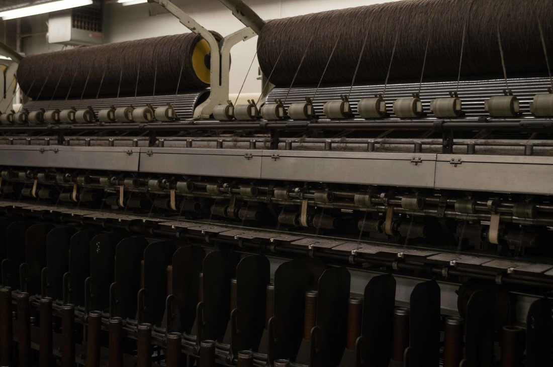 Spinning roving into yarn at the Pendleton Woolen Mills