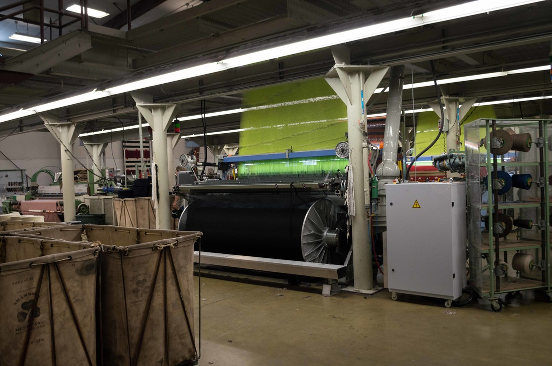 A jacquard loom at work at the Pendleton Woolen Mills