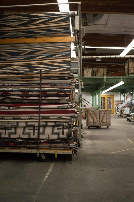 Blankets are sewn together for easier shipping at the Pendleton Woolen Mills