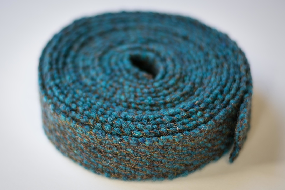 Handwoven Blue Wool Ribbon