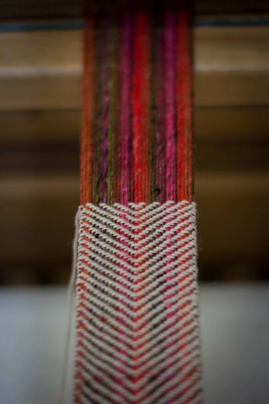 Weaving a luxurious ribbon from Noro and a yak yarn